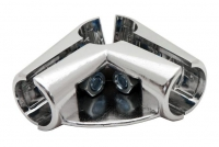 UNO06 Соединитель угловой 3х труб 1полочный хром