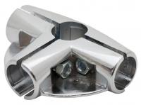 UNO09 Соединитель угловой 4х труб 2полочный хром